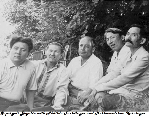 Sapargali Begalin with Abdilda Tazhibayev and Mukhamedzhan Karatayev.jpg